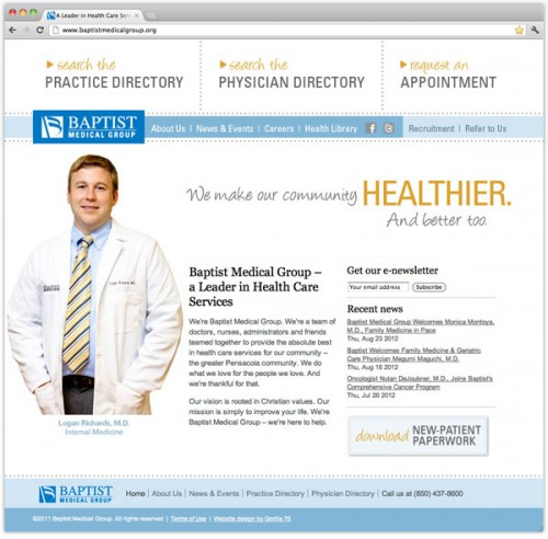 Hospital and healthcare website design