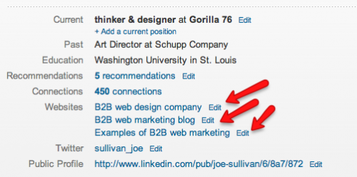 LinkedIn 3 links to your website