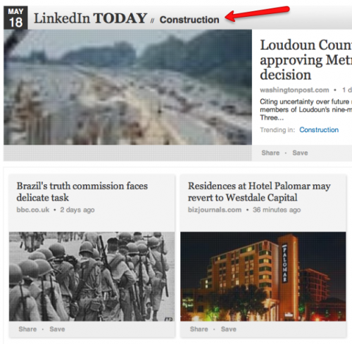 LinkedIn Today news feed