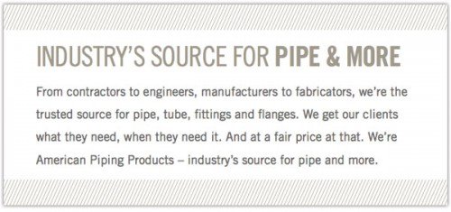 Brand positioning for B2B industrial pipe supplier