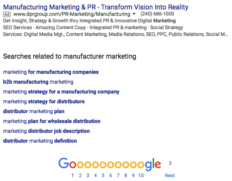 Industrial marketing SERP