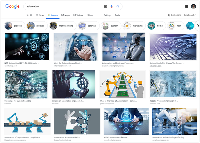 Google image search for automation