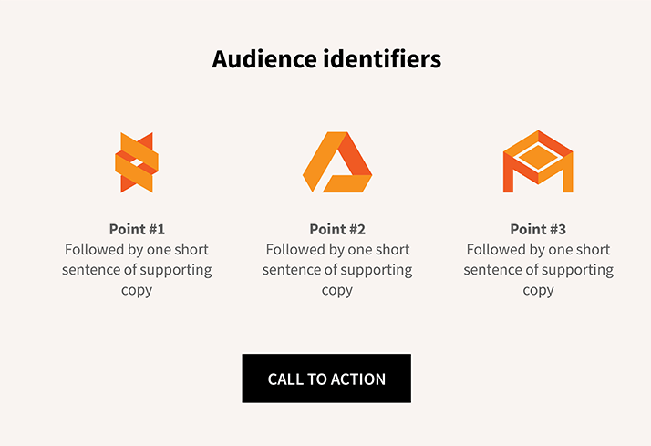 home page wire frame audience identifiers