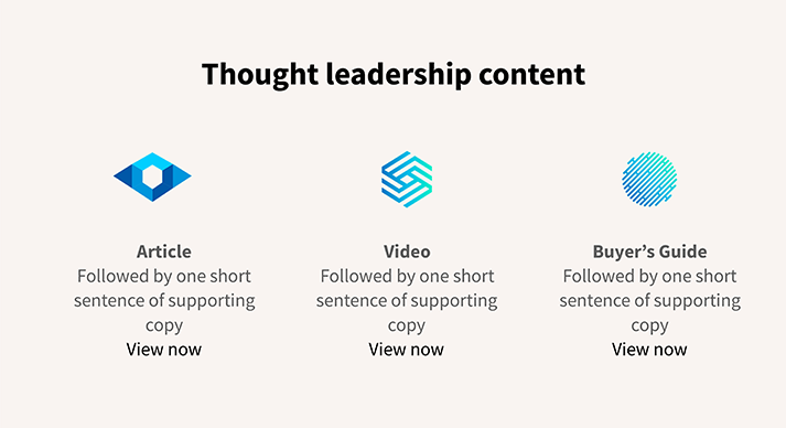 home page wire frame thought leadership content