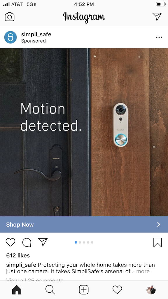 SimpliSafe ad on Instagram